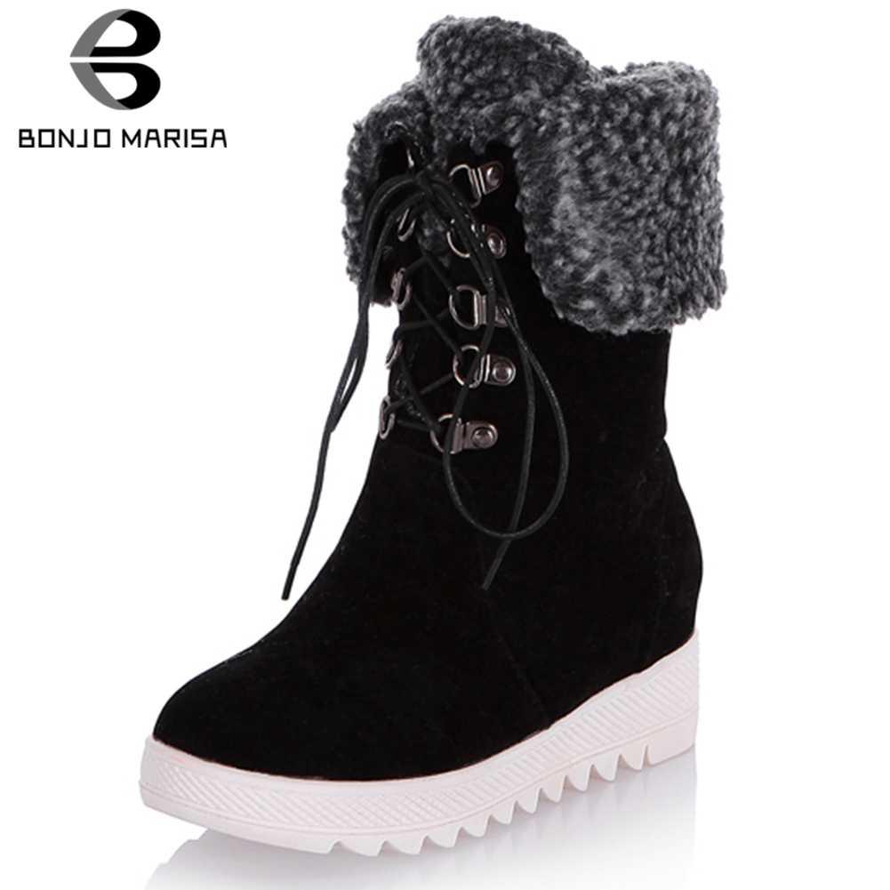 BONJOMARISA 34-43 kış konfor takozlar kürk botları bayan sıcak Platform Ankle kar botları kadın 2020 kış ayakkabı kadın