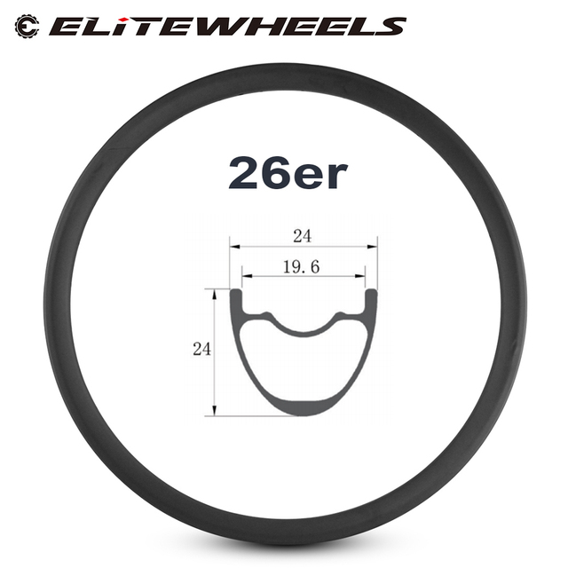 26er Mountain Bike Rim T700 Carbon Fiber Made hookless rims 24mm Depth 24mm Width tubeless For XC Condition bicycle MTB Wheels