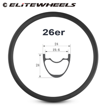 ELITEWHEELS 26er Mountain Bike Rim Carbon Fiber Made Hookless Rims 24mm Depth 24mm Width Tubeless For XC Bicycle MTB Wheelset