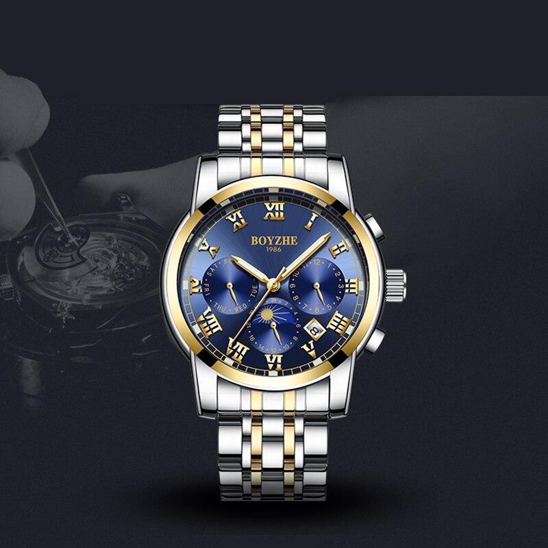 BOYZHE Multi-function Men's Automatic Watch Steel Fashion Waterproof Luminous Business Mechanical Watches Luxury Reloj Hombre