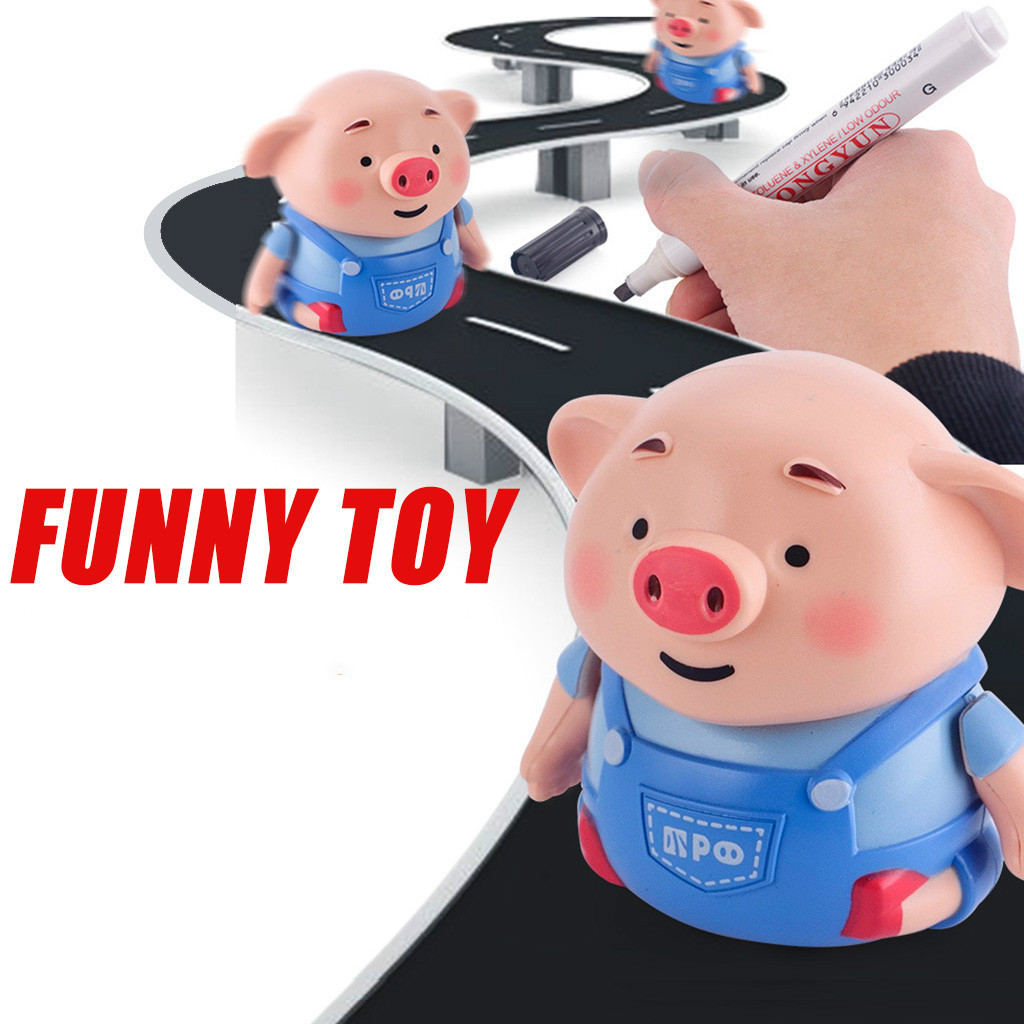 Follow Any Drawn Line Magic Pen Inductive Pig With Light Music Cute Pig Model Children Toy Gift Smart Education Toy