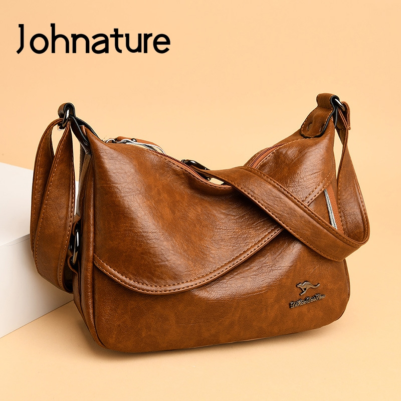 Johnature Leisure Women Bag 2020 New All-match Large Capacity Shoulder Bags Fashion Solid Color Soft Pu Leather Crossbody Bags
