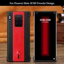 Moda caso de telefone para huawei companheiro 30 rs/mate 20 rs/porsche design luxo macio tpu couro genuíno cinto proteção caso capa