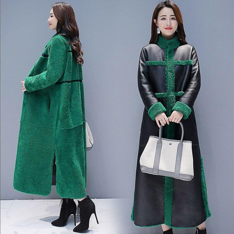 Image 3 - 女性子羊の毛皮のコート 2018 新冬プラスサイズの毛皮のコート 2 側面着用スエード Maix 毛皮ジャケットフェイクレザー毛皮コート -    グループ上の レディース衣服 からの フェイクファー の中