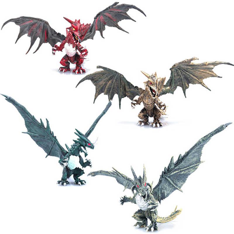 4 pçs/set Clássico DIY Montar Dragões com Asas Figuras de Ação Monstro Dinossauro Jurassic Idade As Crianças Do Bebê Brinquedos Educativos