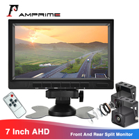 AMPrime 7'' 2 Way Video Input HD Backup Camera System Split Screen Monitor For Truck Trailer RV Camper Bus Support Night Vision