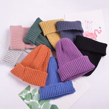 Trendy Hats Beanies Women Korean-Style Caps Knitted Wool Warm Solid Casual Elegant Soft