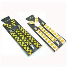 Модные забавные желтые смайлики на подтяжках Свадебные подтяжки для вечеринки Женская мужская одежда унисекс брюки эластичный ремень