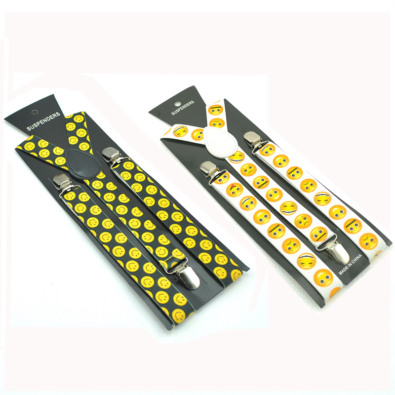 Fashion Funny Yellow Smile Face Emoticon Braces Wedding Party Suspenders Women Men`s Unisex Clothing Pants Trouser Elastic Strap