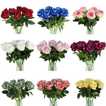 Wysokiej jakości europejski sztuczny kwiat róży kwiatowy bukiet symulacji flanelowe fałszywe kwiaty dekoracyjne wesele dekoracji tanie i dobre opinie CYZIWEI European Artificial Flowers Rose 21523 Sztuczne Kwiaty Róża Bukiet kwiatów Ślub Velvet 2pcs 3pcs 5pcs white pink peach red blue green