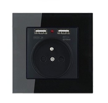 High-grade 1 2 3 4 gang 1 2 way big panel black switch socket Type 86 Wall 2.5D Cambered Mirror Toughened glass Computer TV 13