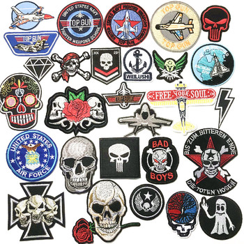 fighter skeleton punk rock Badge Iron On Patches Sewing Embroidered Applique for Jacket Clothes Stickers Badge DIY image