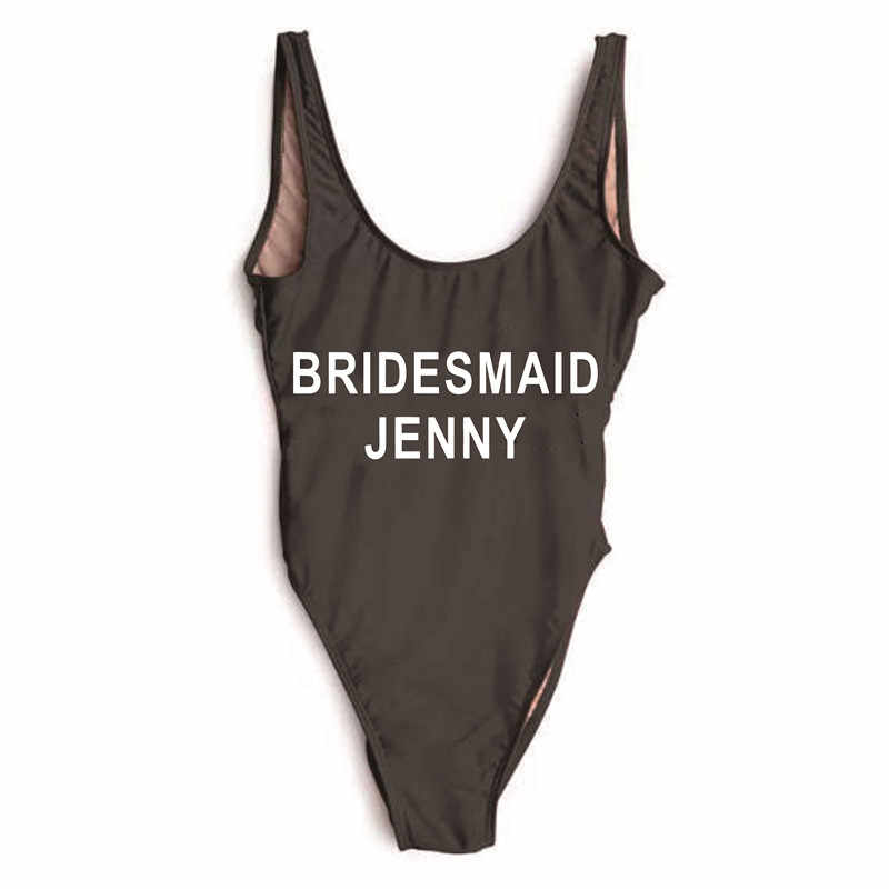 Женский цельный купальник для подружки невесты Дженни, девичник, вечерние, женские, свадебные, вечерние, с подкладкой, высокая нога, женский купальник, сексуальная летняя пляжная одежда