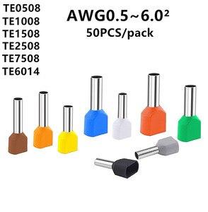 TE0508 TE1008 TE1508 TE2508 TE6014 ouble pipe 0.5~6.0² cold pressed end double line tube shaped insulated tubular terminal