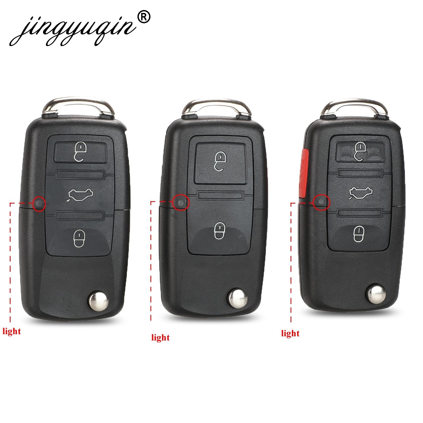 Jingyuqin Uncut Blade 2/3/4 BTN Folding Flip Remote Key Fob Case Shell For VW Golf Passat Polo Jetta Touran Bora Sharan