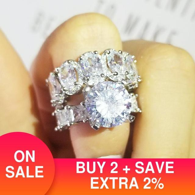 luxury  Real 925 Sterling Silver oval princess cut wedding Ring set for women engagement band eternity jewelry zirconia R4975