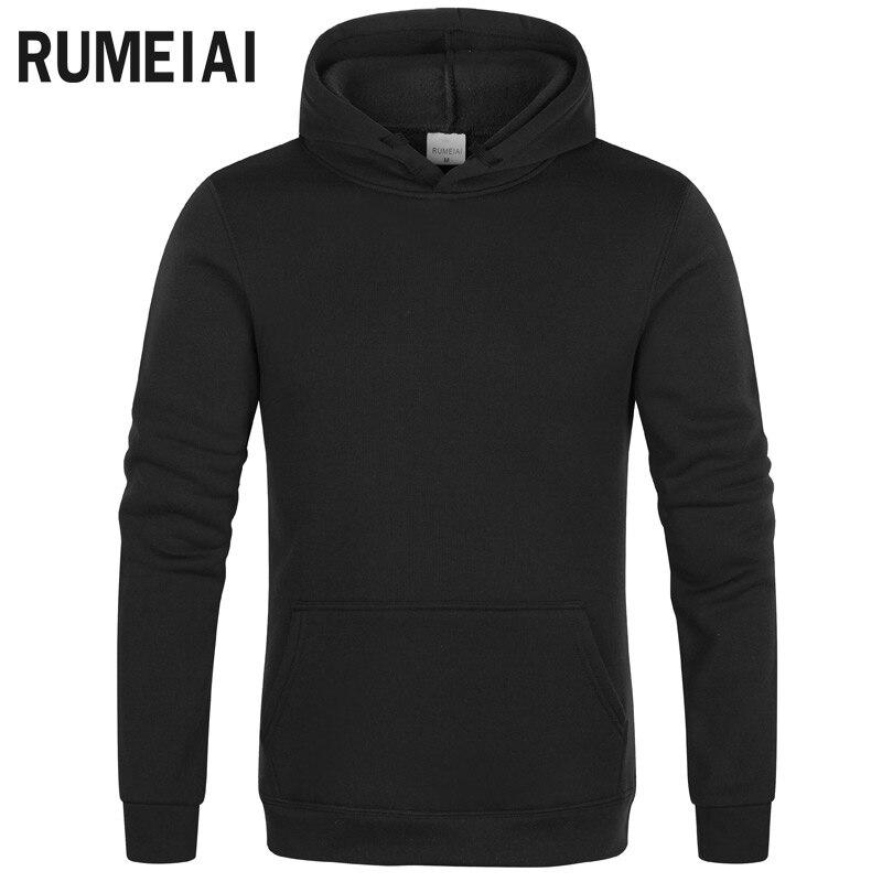 RUMEIAI Fashion Brand Men's Hoodies 2020 Spring Autumn Male Casual Hoodies Sweatshirts Men's Solid Color Hoodies Sweatshirt Tops