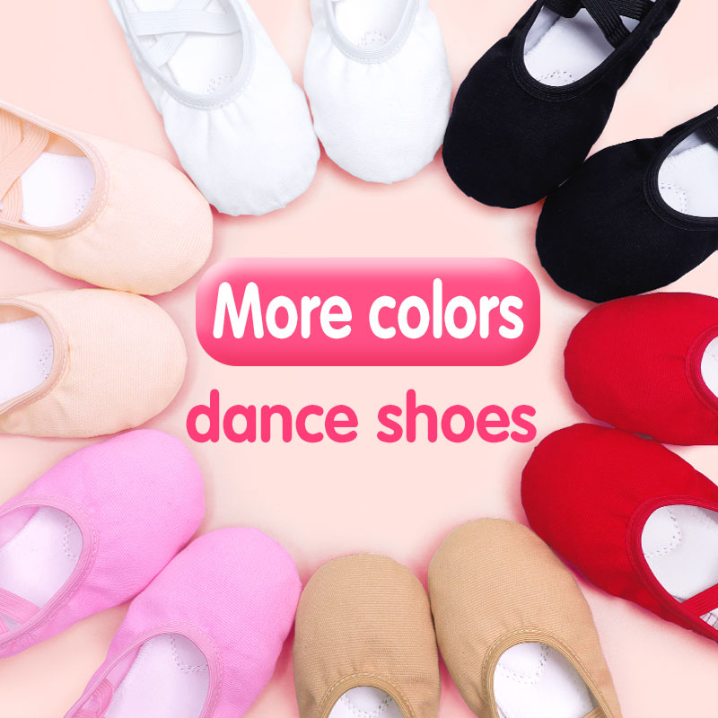 Black, White, Pink, Red, Flesh,Tan Soft Ballet Slippers Girls Kids Ballet Dance Shoes Training Shoes For Girls Women 24-40 Size