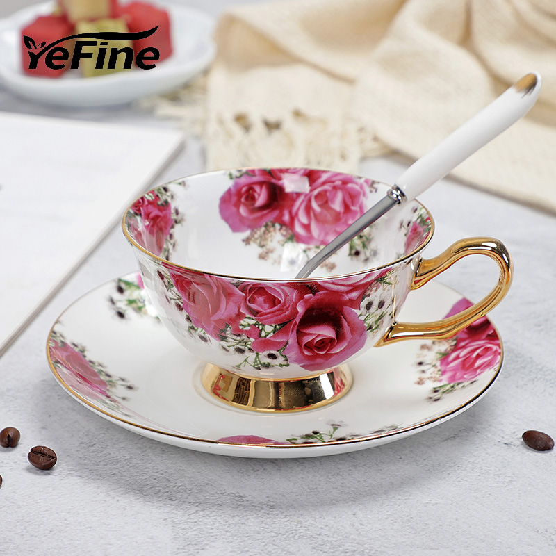YeFine Ceramic Afternoon Black Tea Cups And Saucers Bone China Coffee Cup With Tray Porcelain Drinkware Set Dropshipping