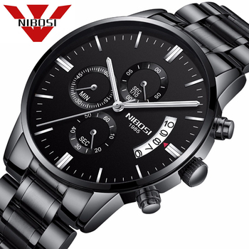 NIBOSI Mens Watches Top Brand Luxury Chronograph Watch Men Stainless Steel Quartz Watches Black Male Watches relogio masculino image