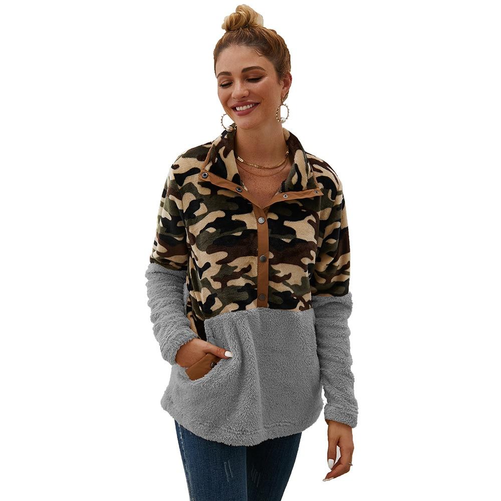 Womens Plush Sweatshirts 2019 Autumn Winter New Clothes Fashion Camouflage Stitching Hoodies