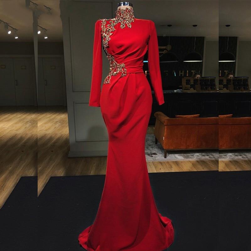 Muslim Red Evening Dresses 2020 New High Collar Full Sleeves Beaded Mermaid Evening Dress Dubai Saudi Arabic Formal Party Gowns
