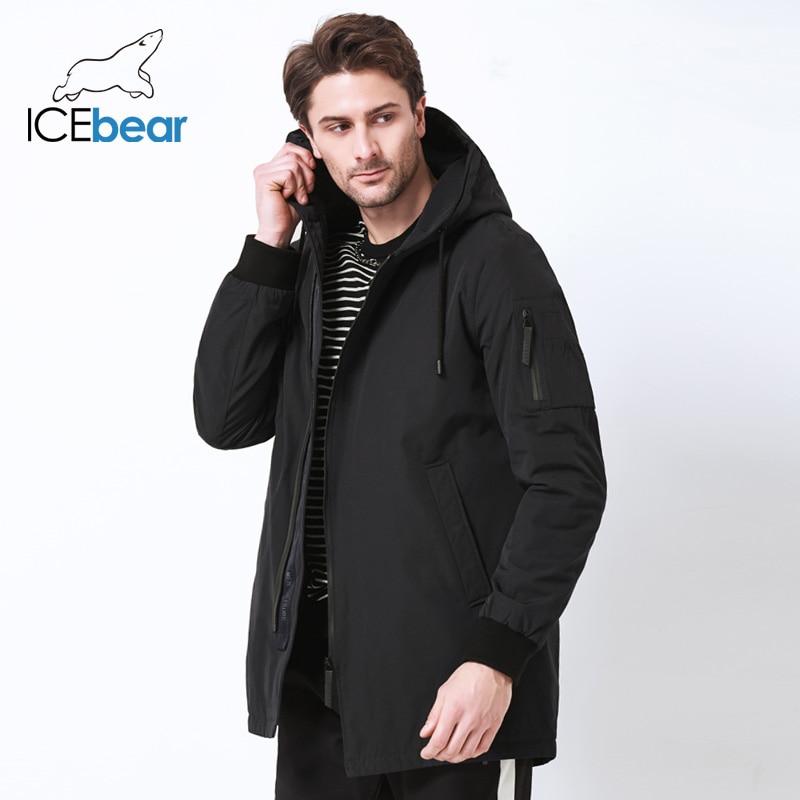 ICEbear 2019 nouveaux hommes automne manteau haute qualité vêtements mode homme veste diagonale placket à capuche design MWC18031D-in Parkas from Vêtements homme    1