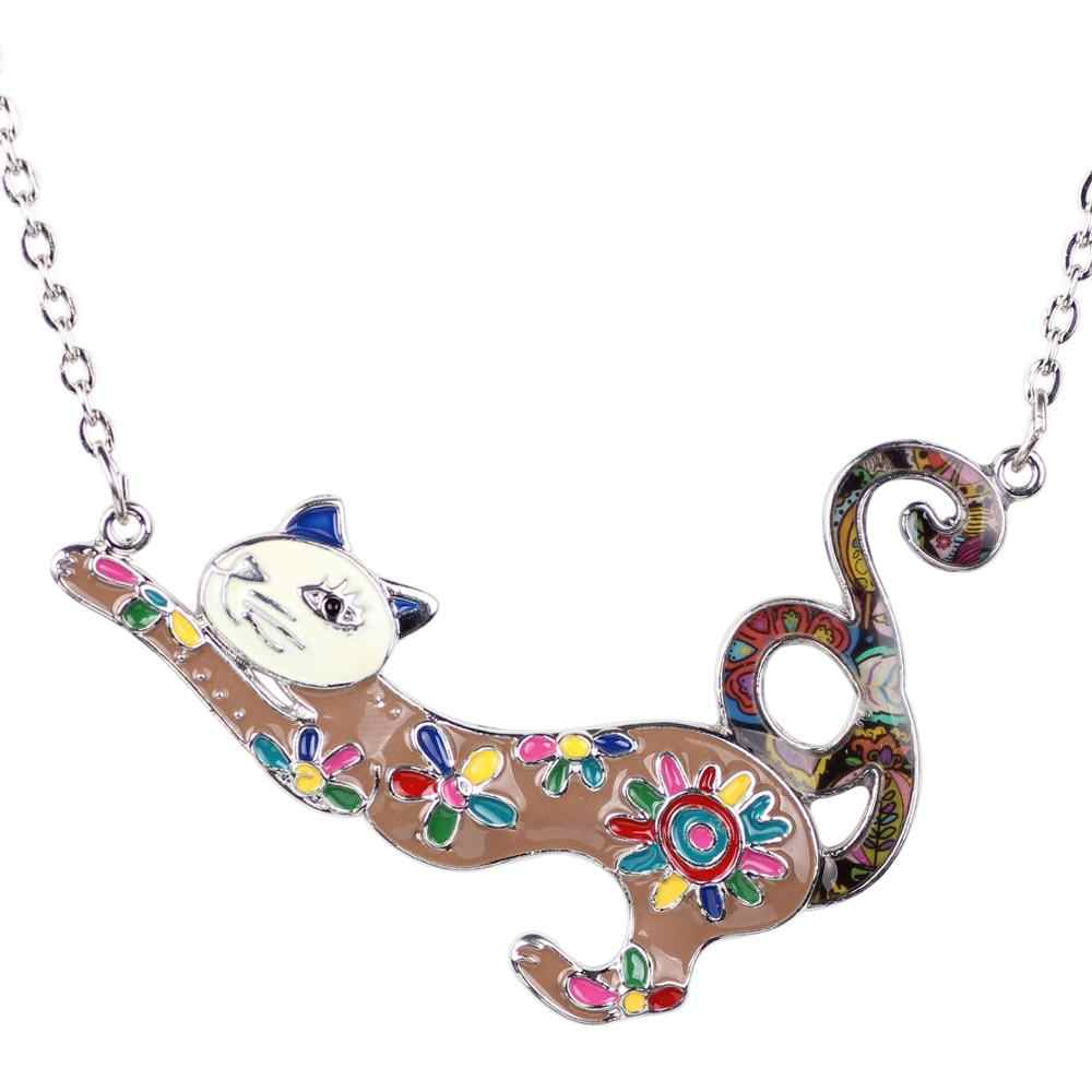 Weveni Alloy Enamel Elegan Kucing Kalung Liontin Rantai Baru Fashion Hewan Perhiasan Souvenir Hadiah Baru 2019 Wanita Gadis Remaja