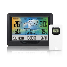 Weather Station Colorful Screen Temperature Humidity Thermometer Hygrometer Alarm Clock With Outdoor Sensor