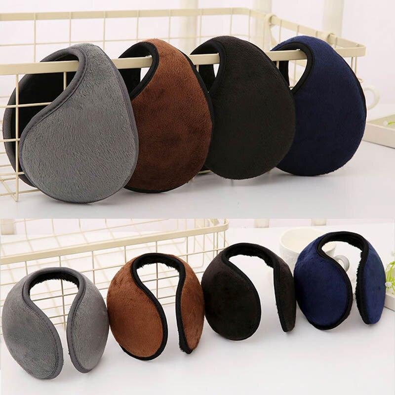 2 Pcs Warm Earmuffs Mens Warm Covers Soft Plush Style Black Plaid Style Brown
