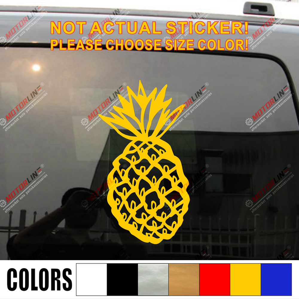 Pineapple Car Decal Sticker Vinyl pick size color die cut no background