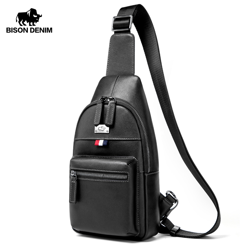 BISON DENIM Genuine Leather Crossbody Bag Waterproof Men's Bags Small Single Shoulder Strap Chest Pack Leather Travel Bag N2666