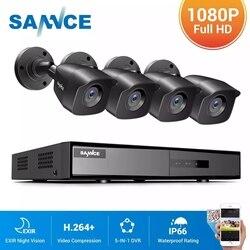 SANNCE 8CH 1080N DVR 1080N CCTV система 1080P 2.0MP камеры безопасности ИК Открытый IP66 комплект видеонаблюдения Обнаружение движения