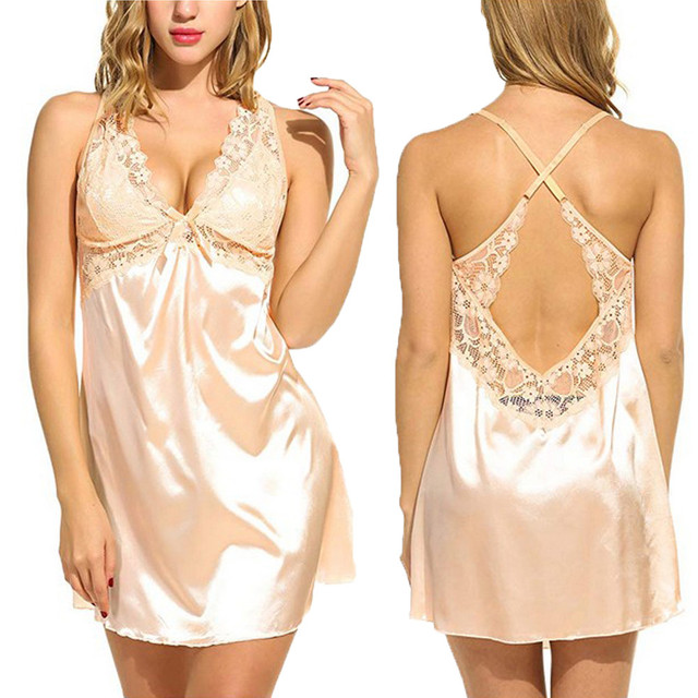 Women Lace Sleepwear Robe Pyjama Night Gown Nightdress Ladies Spaghetti Strap Satin Sexy Solid Satin Lace Nightgowns Homewear #W 4