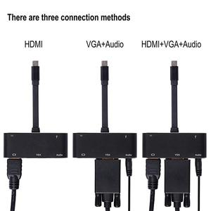 Image 5 - USB type c to hdmi vga 3.5mm jack AUX audio USB3.0 with PD Converter adapter cable for Macbook Samsung Laptop