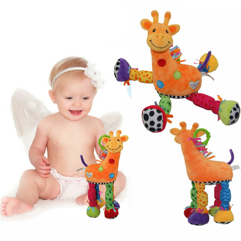 เด็กทารกยีราฟ Rattle สัตว์มือจับ Appease ตุ๊กตาของเล่นน่ารักยีราฟจับรถเข็นเด็กเปลเตียงแขวน Appease ของเล่นเด็ก