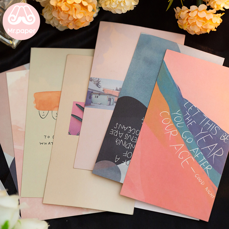 Mr Paper 4 Designs 10pcs/lot Good Night Artsy Colorful Memo Pads Loose Leaf Minimalist Ins Style Memo Pads Creative Gifts