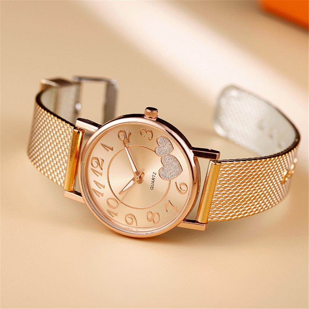 Модные женские часы, часы с сердечком, Звездная пыль, креативный сетчатый ремень, женские кварцевые часы, наручные часы, простые женские час...