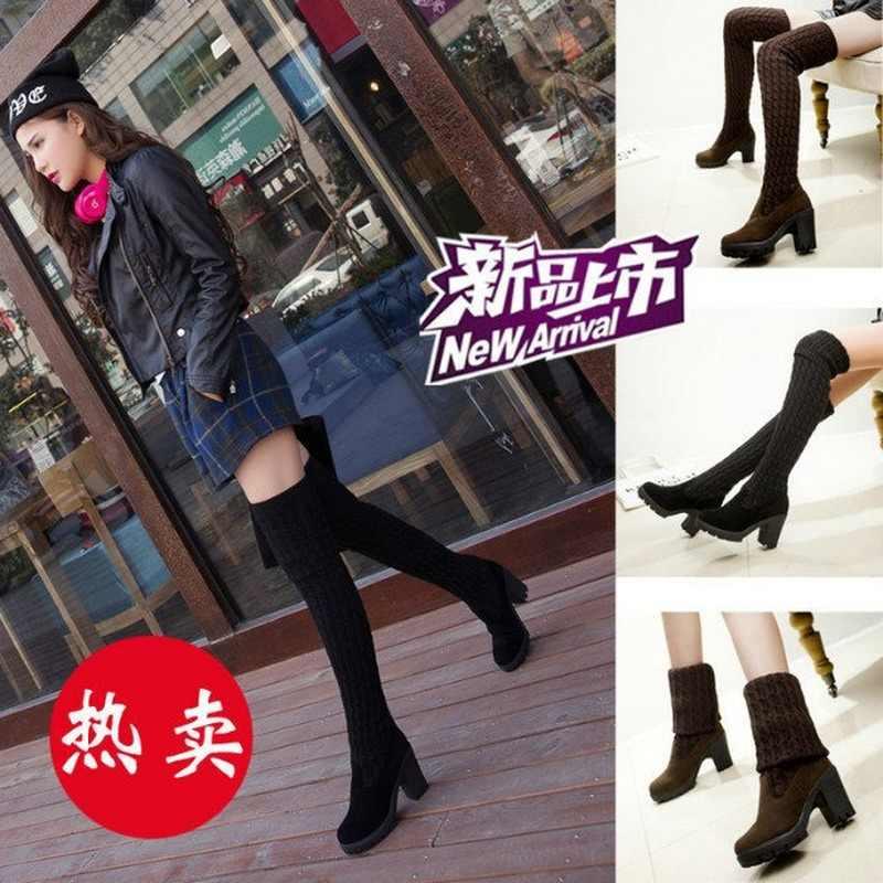 LZJ 2019 mujeres botas Otoño Invierno señoras moda Slim botas zapatos sobre la rodilla muslo alto tejido lana marca larga botas
