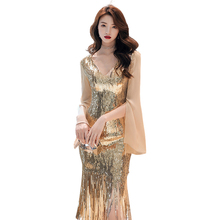 Evening Dress Long Sleeve Robe De Soiree Backless Tassel Women Party Dresses 2019 Plus Size Sexy V-neck Sequin Formal Gowns F001