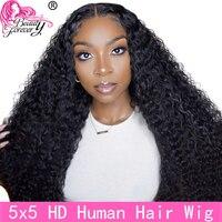 Schönheit Für Immer 5x5 HD Spitze Verschluss Perücke Brasilianische Schließung Lockige Haar Perücke Mit Baby Haar Remy Menschenhaar unsichtbare HD Spitze Perücke