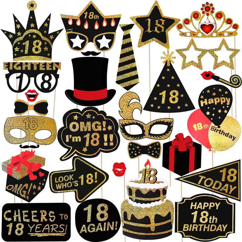 Tinksky 29 Pcs Glitter 18th Happy Birthday Photo Booth Props Party Accessories For Birthday Party Decoration Favors Supplies