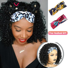 FAVE Headband Wig Afro Kinky Curly Synthetic Half Scarf Turban Wrap Black Heat Resistant Fiber For African American Women