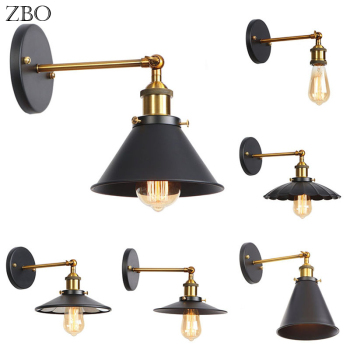 Retro Wall Lamp Black Iron Lampshade E27 Edison Industry American Indoor Lighting For Living Room Vintage Wall Lights Loft цена 2017