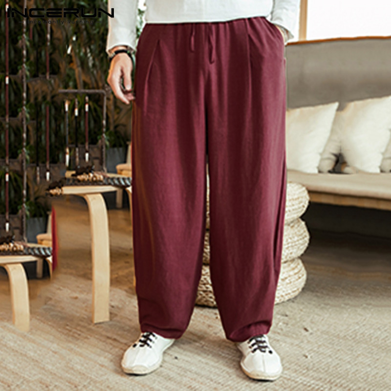 INCERUN Vintage Men Loose Wide Leg Pants Solid Cotton 2020 Drawstring Retro Joggers Harem Pants Streetwear Trousers Men S-5XL