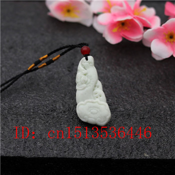 Carved Bat Tiger Jade Pendant Natural White Jadeite Ruyi Necklace Charm Jewellery Fashion Lucky Pixiu Amulet Gifts for Her Women image