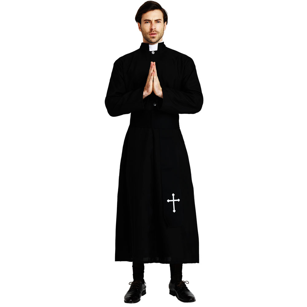 Image 3 - Umorden Adult Black Noble Priest Costume Men Religious Pastor Father Costumes Halloween Purim Party Mardi Gras Fancy Dress-in Holidays Costumes from Novelty & Special Use
