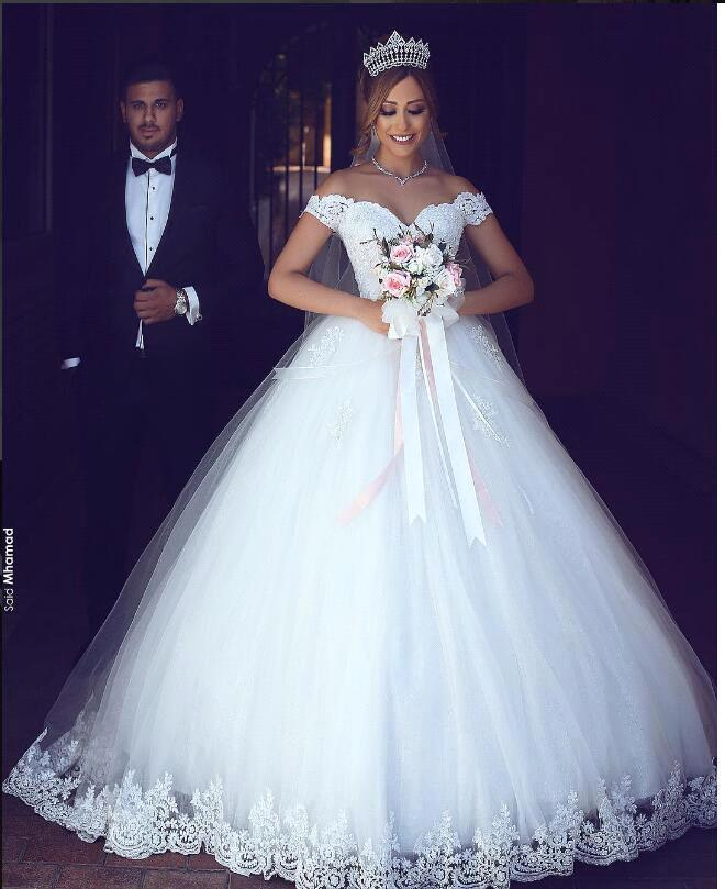 Gorgeous Wedding Dresses Princess Off Shoulder Sweetheart Muslim Bride Wedding Gowns Marrige Applique Lace Ball Gown Plus Size