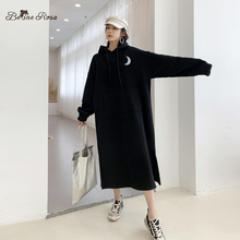 BelineRosa 2019 Street Fashion Trending Glowing Moon Winter Thicken Flocking Warm Long Hoodies Dress DressTYFS0016
