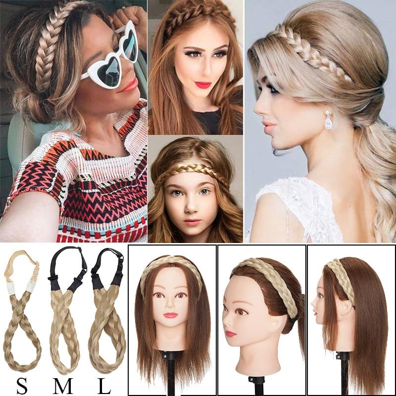BENEHAIR Headband Platied Elastic Hair Band Braided Headwear Hair Accessories Bohemian Headband Synthetic Fake Hair Bangs